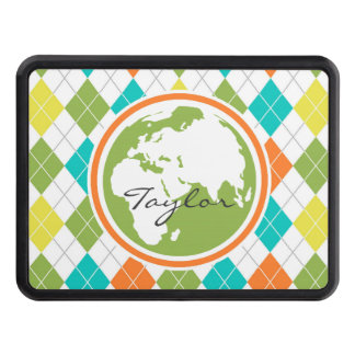 Earth; Colorful Argyle Pattern Trailer Hitch Cover