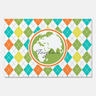 Earth; Colorful Argyle Pattern Yard Sign