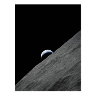 Earth Crescent Rising above Moon's Surface Post Cards