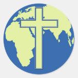 Earth Cross Classic Round Sticker