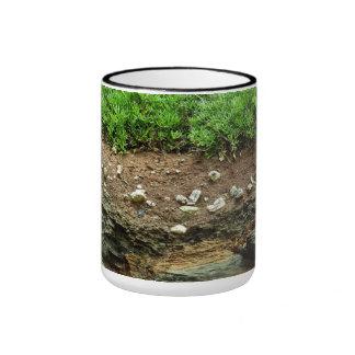 Earth cross section down to rock ringer coffee mug