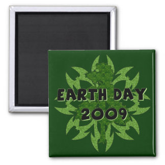 Earth Day 2009 Art 2 Inch Square Magnet