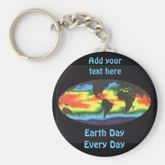 Earth Day 2012 - Global sea surface temperature Keychain