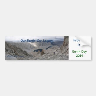 Earth Day 2014 Bumper Sticker Solitary Hiker