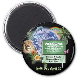 Earth Day 2 Inch Round Magnet