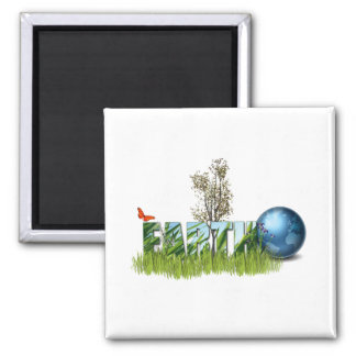 Earth Day 2 Inch Square Magnet