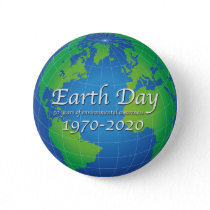 Earth Day 50 Year Anniversary 2020 Button