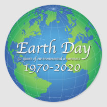 Earth Day 50 Year Anniversary 2020 Classic Round Sticker