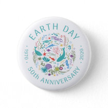 Earth Day 50th Anniversary 1970-2020 Ocean Animals Button