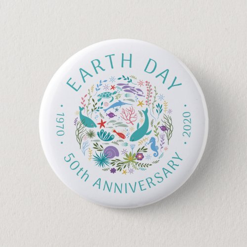 Earth Day 50th Anniversary 1970_2020 Ocean Animals Button