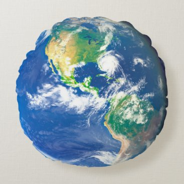 USA Themed earth day and night round pillow