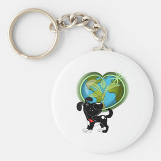 Earth Day and Shadow Basic Round Button Keychain