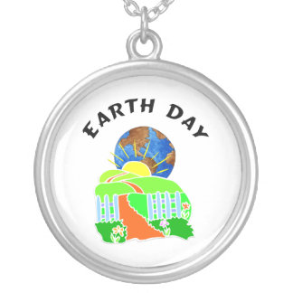 Earth Day at Home Round Pendant Necklace