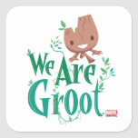 Earth Day Baby Groot Square Sticker