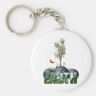 Earth Day Basic Round Button Keychain