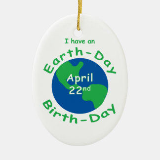Earth Day Birthday Double-Sided Oval Ceramic Christmas Ornament