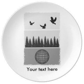 Earth Day Black And White Porcelain Plate