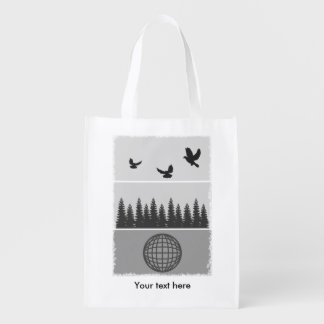 Earth Day Black And White Reusable Grocery Bag