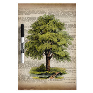 earth day botanical art vintage oak tree dry erase board