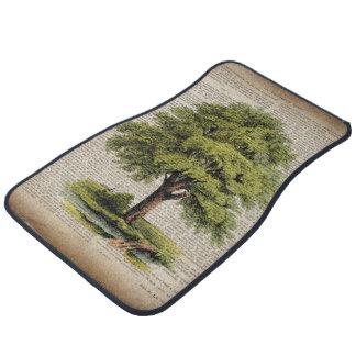 earth day botanical art vintage oak tree floor mat