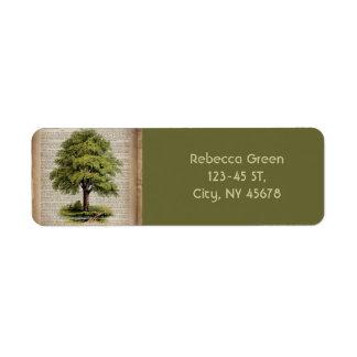 earth day botanical art vintage oak tree labels