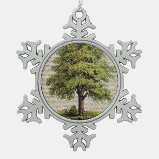 earth day botanical art vintage oak tree snowflake pewter christmas ornament