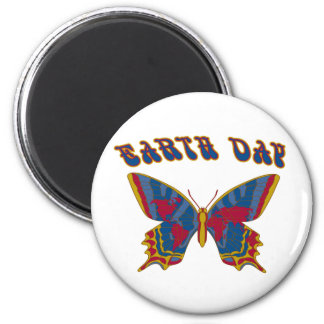 Earth Day Butterfly 2 Inch Round Magnet