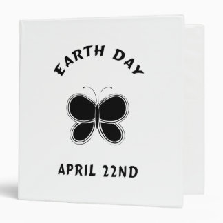 Earth Day Butterfly 3 Ring Binder