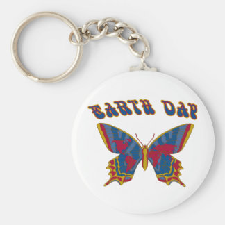 Earth Day Butterfly Basic Round Button Keychain