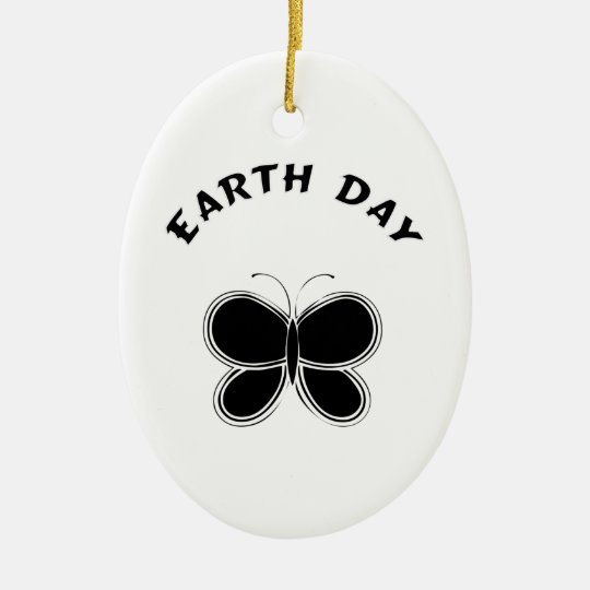 Earth Day Butterfly Ceramic Ornament