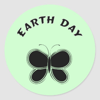 Earth Day Butterfly Classic Round Sticker