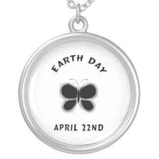 Earth Day Butterfly Round Pendant Necklace