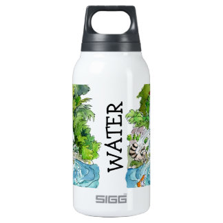 Earth Day Cartoon Animals Waterfall Insulated Water Bottle