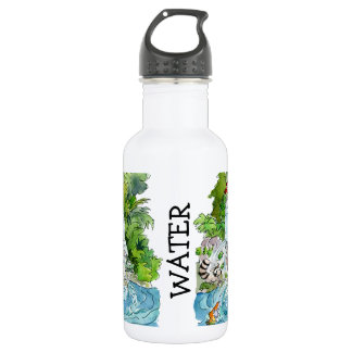 Earth Day Cartoon Animals Waterfall Stainless Steel Water Bottle