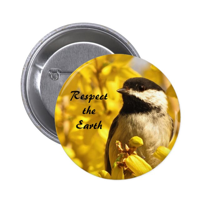 Earth Day Chickadee Bird in Yellow Flowers Button