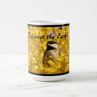 Earth Day Chickadee Bird in Yellow Flowers Mug