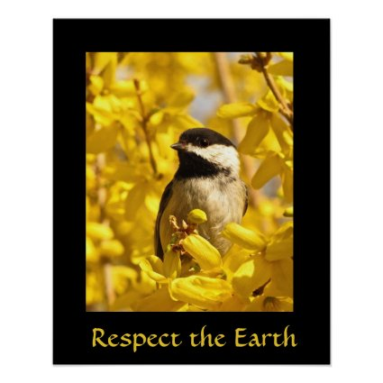 Earth Day Chickadee Bird in Yellow Flowers Print