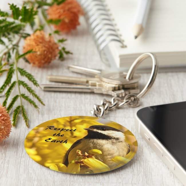 Earth Day Chickadee Bird Yellow Flowers Keychain