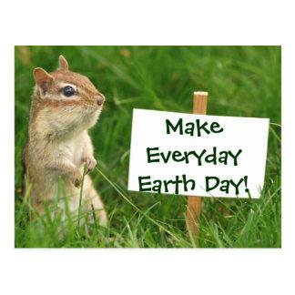 Earth Day Chipmunk Postcard