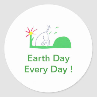 Earth Day Dog Digging Classic Round Sticker