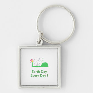 Earth Day Dog Digging Keychain