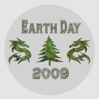 Earth Day Dragons 2009 Classic Round Sticker