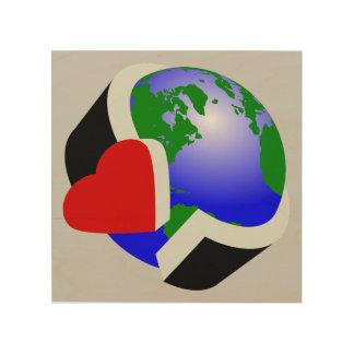 Earth Day Earth Love Wood Wall Art