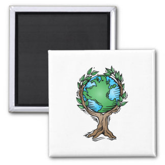Earth Day Earth Tree 2 Inch Square Magnet