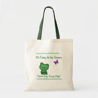 Earth Day Easy to be Green Frog Tote Bag