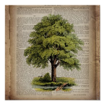CHICELEGANT Earth Day ECO dictionary prints vintage oak tree