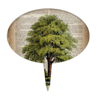 Earth Day ECO dictionary prints vintage oak tree Cake Topper