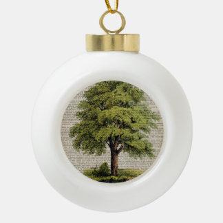 Earth Day ECO dictionary prints vintage oak tree Ceramic Ball Christmas Ornament