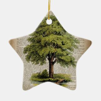 Earth Day ECO dictionary prints vintage oak tree Ceramic Ornament