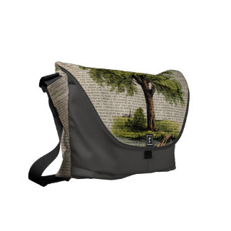 Earth Day ECO dictionary prints vintage oak tree Courier Bag